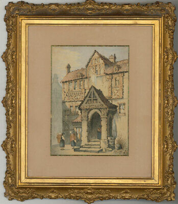 Framed Late 19th Century Watercolour - Continental Town House