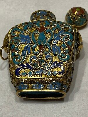 """Antique Snuff Bottle 1.75"""" Champleve' Lotus Blossom Bulls Head Handles On Sides"""