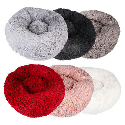 Pet Dog Cat Calming Bed Warm Soft Plush Round Cute Nest Comfortable Sleeping HOT