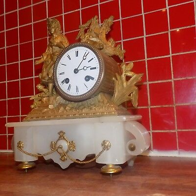 Antique French Gilt Metal & Marble Mantel Clock