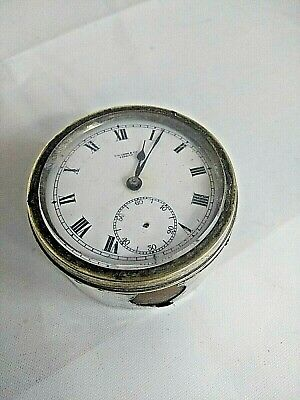 Vintage T.W Long Small Clock Desk Swiss Made Possibly Silver