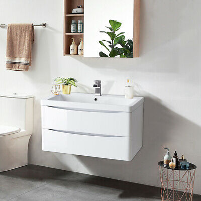 800mm Bathroom Vanity Unit Basin Storage Wall Hung Cabinet Furniture Gloss White