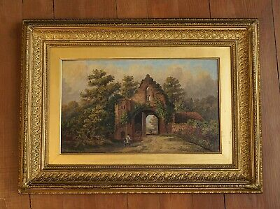 Signed 19th Century English Landscape Old Oil Painting in Antique Gilt Frame