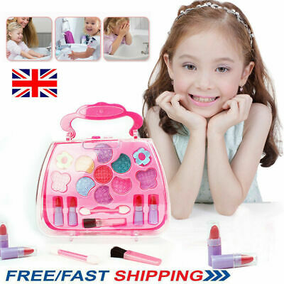 UK Washable Pretend Kid Make Up Gift Set NON-TOXIC Makeup Case Box Toys for Girl