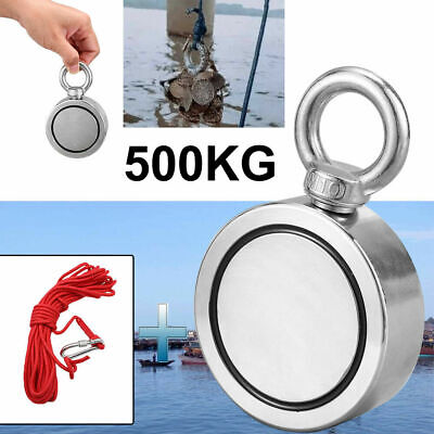 Pull Ring 75mm 500KG Stainless Steel Recovery Detector Double Magnet Fishing
