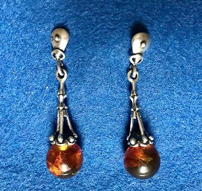 Beautiful Vintage Arts & Crafts Baltic Amber Celtic Style Drop Earrings