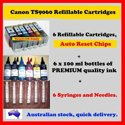 Canon TS9060 compatible Cartridge Refill kit. Cartridges, Auto reset chips, ink