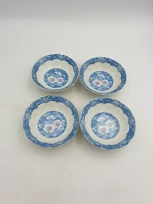 Japanese Porcelain Small Sauce Dipping Bowls Blue White Floral Blossom 4Pc Set