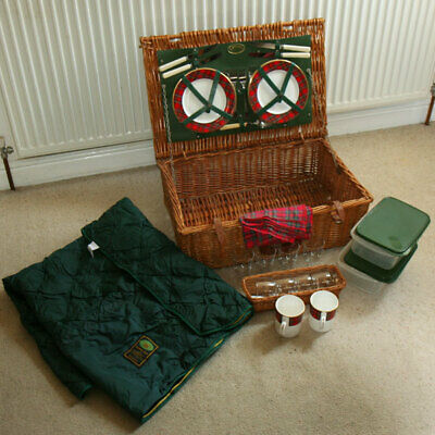 QUALITY OPTIMA WICKER PICNIC HAMPER with PLATES CUPS etc & PICNIC WOOL RUG