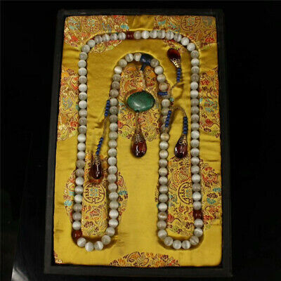 """China White cat's eye stone Official clothing""""Chao-Zhu""""necklace &lacquerware Box"""