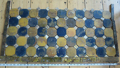 Vintage Fireplace Hearth Tiles - Yellow and Blue Octagonals