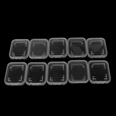 10XTransparent Standard S D SDHC Memory Card Case Holder Box Storage Plastic~GN