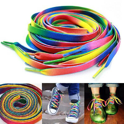 2 Pairs Flat Rainbow Shoe Laces Long Shoelaces Bootlaces 8MM Wid~GN