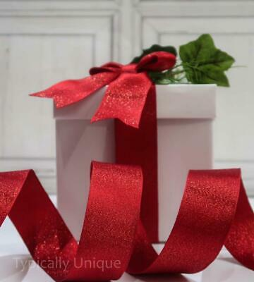 Quality Christmas Ribbon  Red Wire Edged Craft Gift Wrapping Decoration  'Rex'