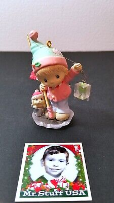 MrStuff HOLIDAY SALE!  Precious Moments Vintage Boy Fishing Dog in pail on Ice