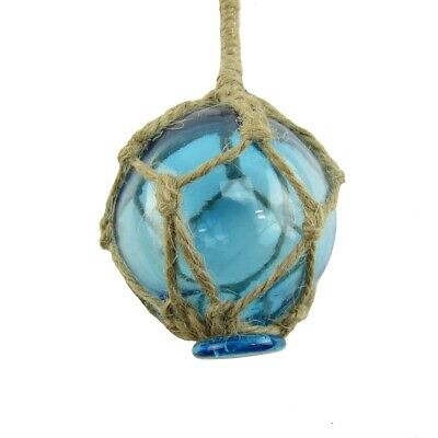 Nautical Rope Fishing Buoy Light Blue Glass Float Fish Net Ball Tiki/Luau Decor