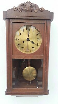 Antique Dufa German Pendulum Wall Clock Regulator With Gong Chime
