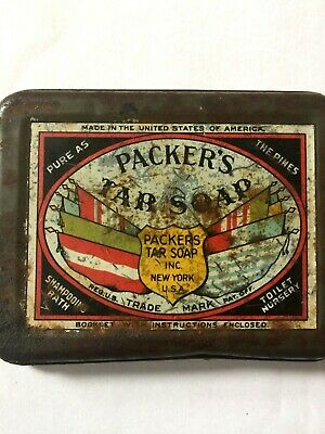 Antique Packer's Pine Tar Soap ADVERTISING Vintage Tin New York 2 Pieces