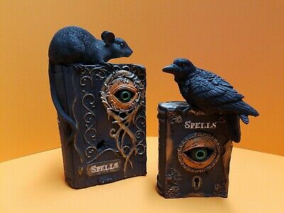 Halloween LED Lighted Spell Book Prop Set of 2 Rat Raven Crow NEW W/TAGS *AS IS*
