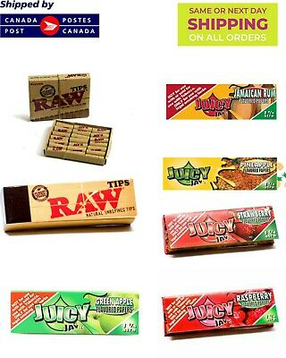 5 Juicy jay's 1 1/4 Rolling paper Bundle + Raw Natural Pre rolled TIPS
