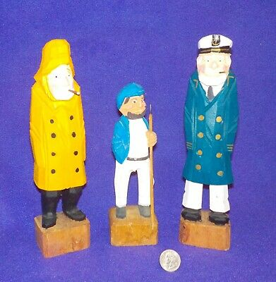 NAUTICAL 3 Vintage Wooden Hand Carved Figures Sailor Captain Fisherman  EXC COND