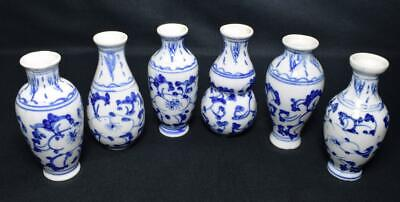 Antique Chinese Porcelain Miniature Vases x6 Early 20thC