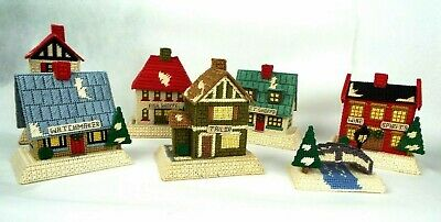 Vintage Finished Completed Lot of 7 Canvas Needlepoint Christmas Village Houses