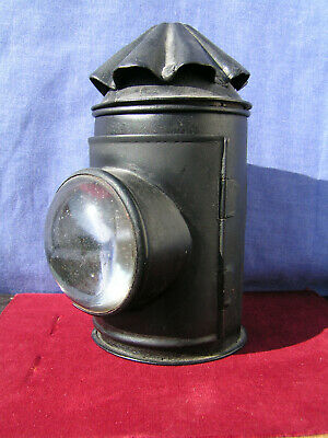 Vintage Victorian Police Hiatt Type Hand Held Rape Seed Oil Lamp Exc Condition