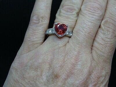 TGW 8.54 cts. Salmon Quartz and Topaz Platinum over Sterling Silv Ring Size 10