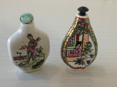 Vintage Chinese Porcelain Snuff Bottle Hand painted Agate Stopper Children Kids