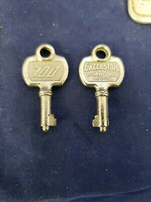 Vtg Excelsior Key # 700 Luggage Suitcase Trunk Steamer Jewelry Box Lot Of 2 (vs)