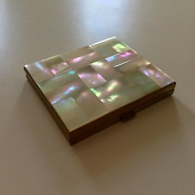 Vintage Powder Compact Mother Of Pearl Gold Tone Square Beauty Boudoir Girly