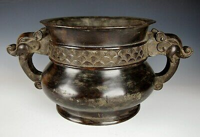 EXQUISITE ANTIQUE CHINESE BRONZE CENSER Ming Xuande Mark Large Gui Form Incense