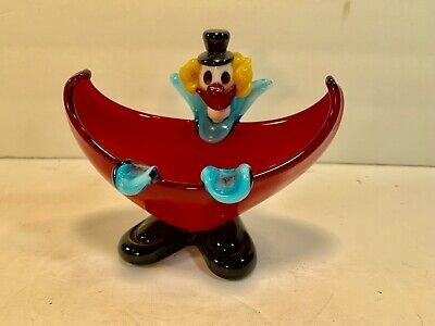 MURANO ART Vintage Art-Deco Blown/Pulled Glass Clown Candy-Dish/Ashtray