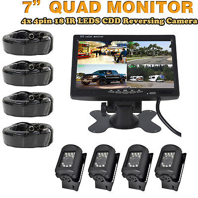 "7"" Split Quad Car Rear View Monitor + 4X4Pin Backup CCD Camera 33Ft For Truck"