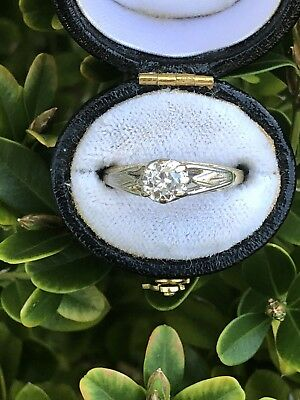 Antique Art Deco Diamond Solitaire Ring Platinum/18ct Gold