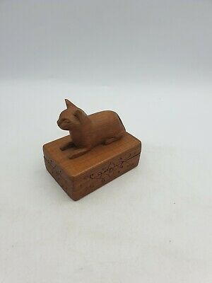 Wooden Hand Carved Egyptian Sitting Cat Jewellery Storage Box Ornate Floral Base