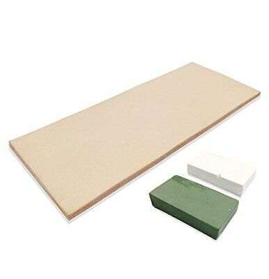 Leather Honing Strop 3 Inch by 8 Inch with 2oz. Green White (Leathr Strop)