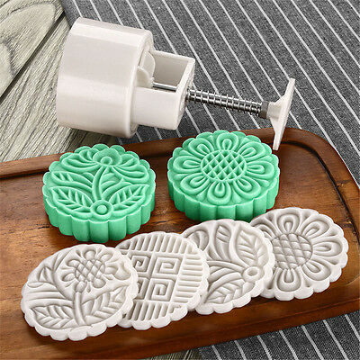 Round Mooncake Pastry Mold 125g Moon Cake Baking Mould 4pcs Stamps DIY Tool ❤