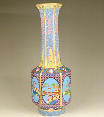 Chinese old porcelain hand painting scenic spots and historical sites vase