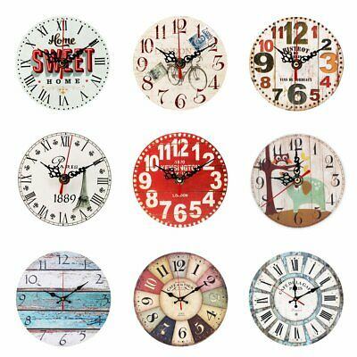5/12''Vintage Rustic Wooden Wall Clock Home Antique Shabby Chic Retro Home  AU