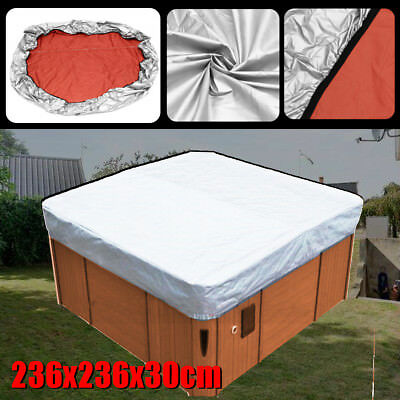 Hot Tub Spa Cover Cap Impermeable Protector Oxford Tela Plata 236x236x30cm <br /