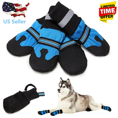 US Large Dog Shoes Boots Booties For Snow Winter Waterproof Reflective
