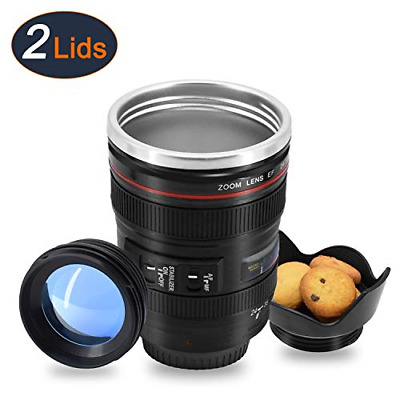 Coffee Mug with Transparent Lid Camera Lens Cup Stainless Steel Caniam 12oz New