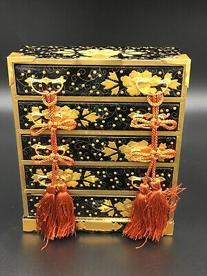 Japanese Hina Doll Lacquer ware Miniature Furniture Vtg Chest Box Wooden