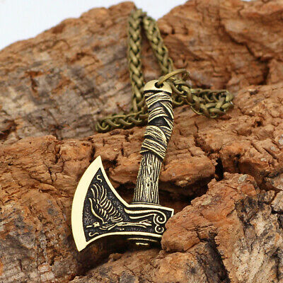 Necklace Viking Silver/Bronze Men's Axe Pendant Amulet Norse Wolf Vintage Gifts