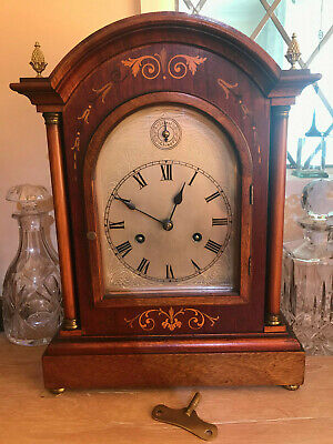 Antique German 'Hac' Bracket 8-Day Mantel Clock With Chimes, Solid Mahogany Case