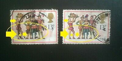 2 GB ERROR/VARIETY USED XMAS SG1074 13p BOARS HEAD CAROL 1978 STAMPS YELLOW LEGS