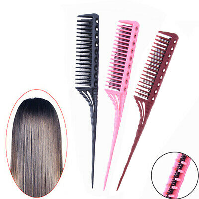 1Pc 3-Row Teeth Teasing Comb Rat Tail Comb* Hair Styling Hairdressing Comb Br~GN