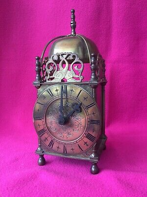 Vintage Brass Cased Lantern Clock - Dome Topped - Circa 1930?? - Working Order